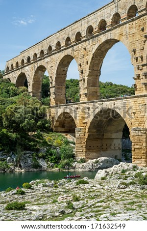 "The ancient aqueduct ""Pont du Gard"" in France"