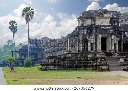 The ancient architecture of Angkor Wat temple in Cambodia - stock photo