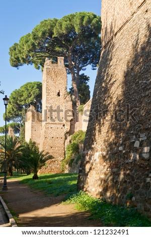The ancient Aurelian Walls in Rome, Italy - stock photo
