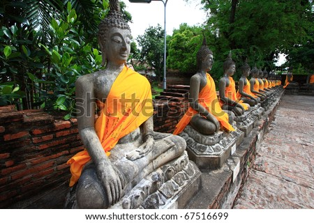 The Ancient Buddha images in Ayuthaya, Thailand - stock photo