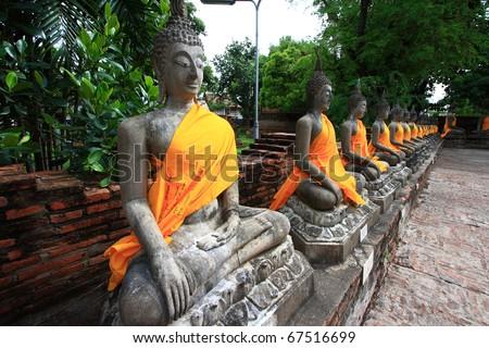 The Ancient Buddha images in Ayuthaya, Thailand - stock photo