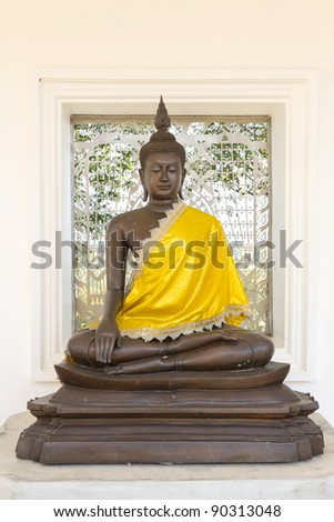 The Ancient Buddha images in thai temple - stock photo