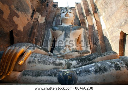 The ancient buddha in Sukhothai