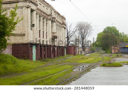 The ancient building of the metallurgical plant - stock photo