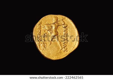 The ancient capital old coin gold - stock photo