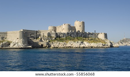 """The ancient castle """"Chateau dIf"""" near """"Marseille"""" in France - stock photo"""