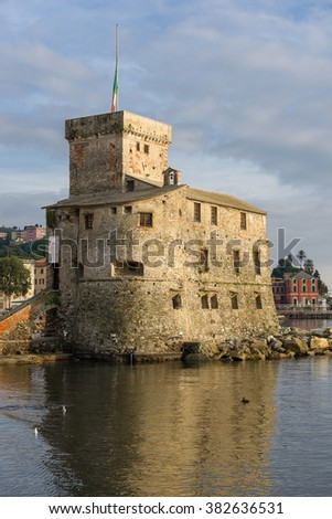 The ancient castle of Rapallo, built on the ligurian sea.