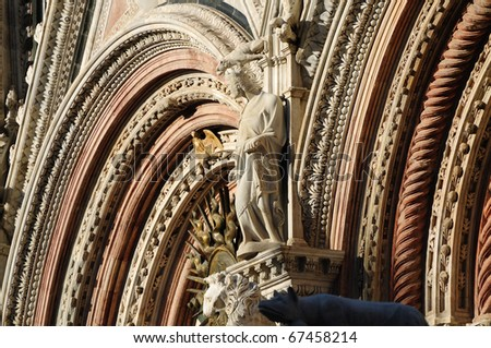 The ancient cathedral of Siena is one of the most beautiful church in Italy - stock photo