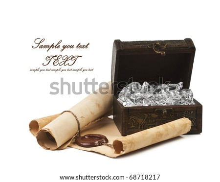 The ancient chest with a paper - stock photo