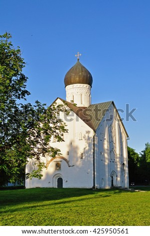 The ancient church of the Transfiguration of Our Savior on Ilin street in Veliky Novgorod, Russia - architectural landscape, facade view