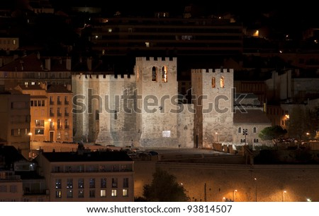 """The ancient church """"Saint Victor"""" of """"Marseille"""" in South France at night - stock photo"""