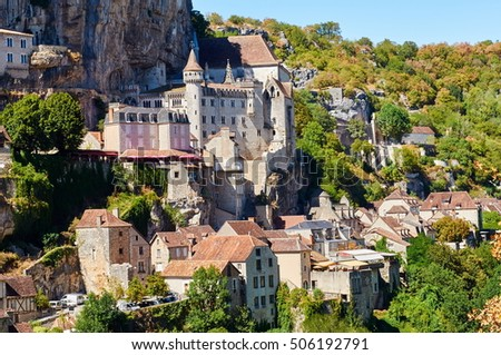 The ancient Citte of Rocamadour, in Midi-Pirenee, France