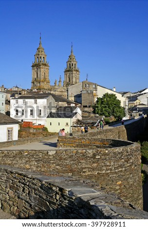 The ancient city walls and cathedral of Lugo, Spain - UNESCO World Heritage Site - stock photo