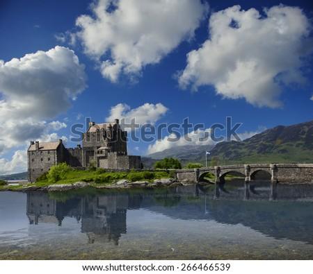 The ancient Eilean Donan Castle in Scotland - stock photo