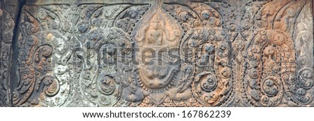 The ancient fine art of Phanom Rung Stone Castle,Buriram,Thailand.