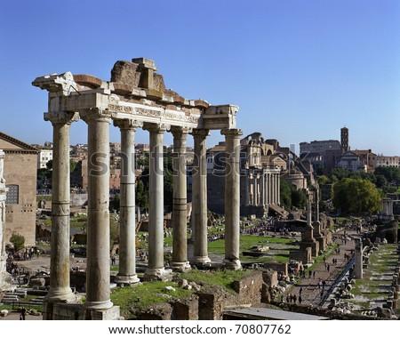 "The ancient ""Forum Romanum"" in Rome in Italy - stock photo"