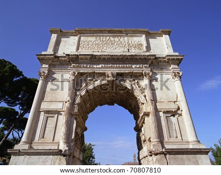"The ancient gate on the ""Forum Romanum"" in Rome in Italy - stock photo"