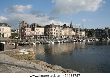 The ancient Honfleur Marina on a spring afternoon