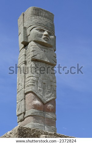 The ancient indian totem. Ecuador. South America - stock photo
