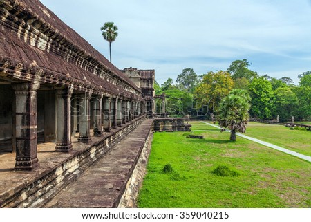The ancient Khmer temple of Angkor Wat in Cambodia - stock photo