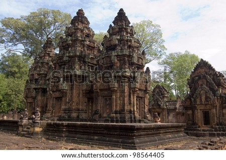 The ancient Khmer temple of Banteay Srei.  Built out of carved, red sandstone in 967, Angkor, Cambodia.