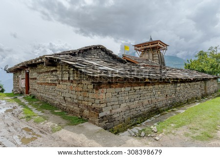 The ancient Krishna temple situated above the village of Naggar -  Kullu Valley, Himachal Pradesh, India. - stock photo