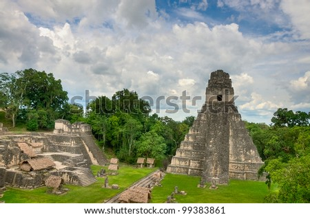 The Ancient Mayan Ruins of Tikal in Guatemala - stock photo