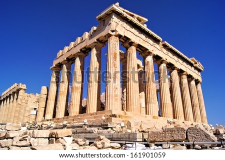 The ancient Parthenon, the Acropolis, Athens, Greece      - stock photo