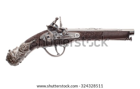 The ancient pistol isolated on white background - stock photo