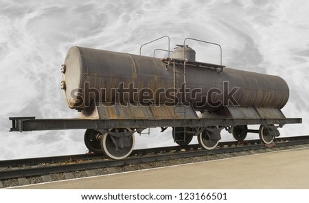 The ancient railway tank.The trophy Austro-Hungarian tank of 1901 - stock photo