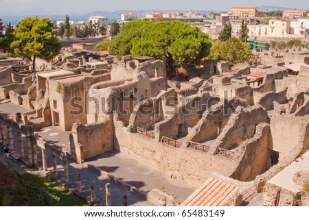The ancient Roman city of Herculaneum. Buried at the same time as Pompeii - stock photo