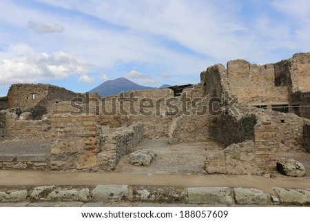 The ancient Roman city Pompei near Naples, buried under a layer of a volcanic ash as a result of eruption of Vesuvius - stock photo