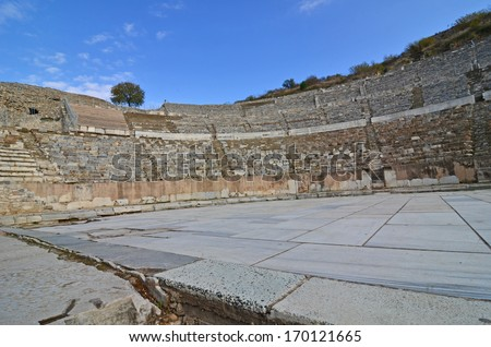 The ancient roman grand theater at Ephesus, where St Paul gave his famous and unsuccessful sermon to the silversmiths, who chanted 'long live Artemis' - stock photo