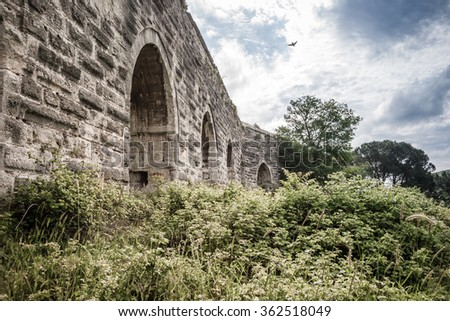 The ancient Roman water aqueduct in Istanbul Turkey