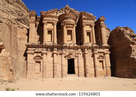 The ancient ruins at Petra, Jordan, and the monastery building, which is just huge - stock photo