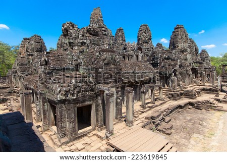 The ancient ruins of a historic Khmer temple in the temple complex of Angkor Wat in Cambodia. Travel Cambodia concept. - stock photo