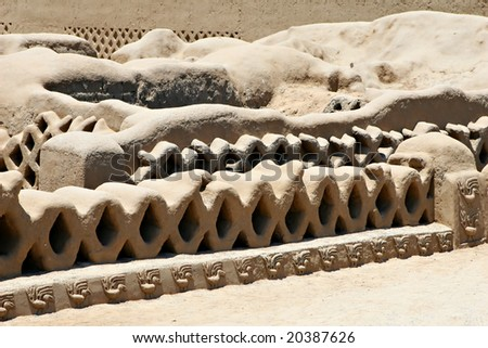 The ancient ruins of Chan Chan in Peru - stock photo