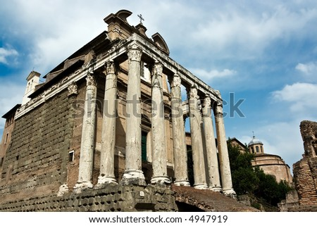The ancient ruins of Roman forum. Italy. - stock photo