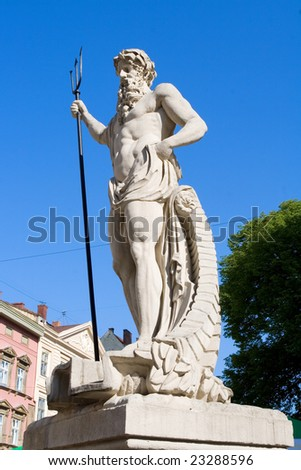 The ancient statue of Neptune - stock photo