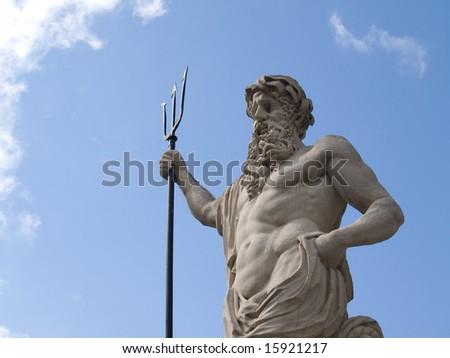 The ancient statue of Neptune (Poseidon) - stock photo