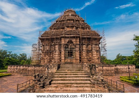 The ancient Sun Temple at Konark currently reinforced with metal rods from falling down. This historic temple was built in 13th century and is a world heritage site.