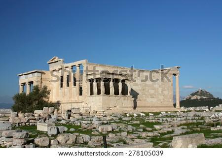 The ancient temple Erechtheion  in Acropolis, Athens, Greece - stock photo