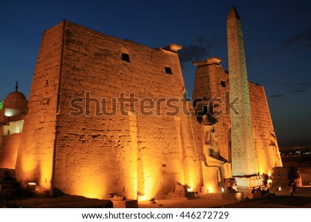 The ancient Temple of Luxor in Egypt at night - stock photo