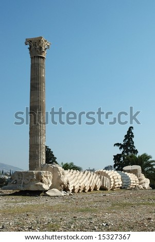 The ancient temple of Olympian Zeus in Athens (Greece) - stock photo