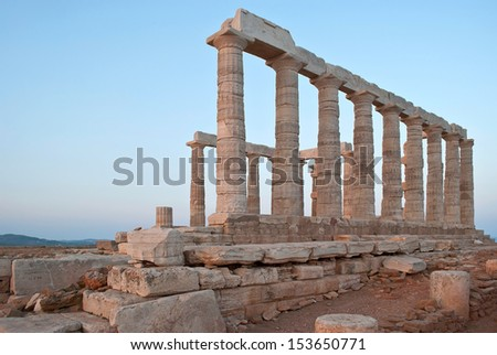 The ancient temple of Poseidon at Cape Sounion. Greece.