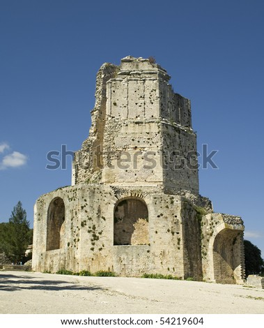 The ancient tower tour magne in nimes in south france stock photo - Tour magne nimes ...