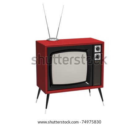 The ancient TV with the aerial on a white background