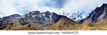 The Andes (or the Southern Cordilleras) - a big panorama of the Peruvian highest tops, ridges and mountains. Collage from several photos - stock photo