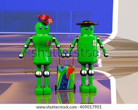 the androids were going to fly to intergalactic travel vouchers travel agencies, on an abstract background - stock photo