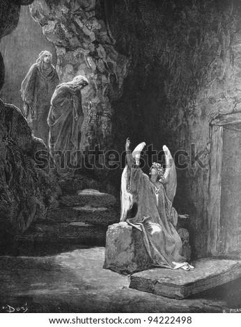 The angel at the tomb of the Lord. 1) Le Sainte Bible: Traduction nouvelle selon la Vulgate par Mm. J.-J. Bourasse et P. Janvier. Tours: Alfred Mame et Fils. 2) 1866 3) France 4) Gustave Doré - stock photo